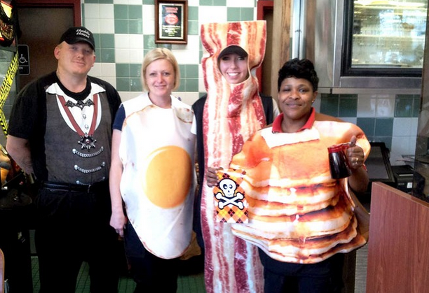 Huddle house staff in costume