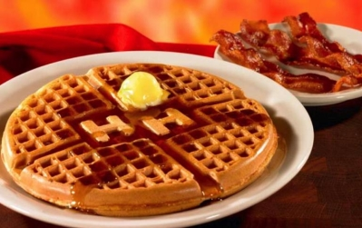Huddle House waffles and bacon